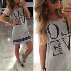 Fashion Women LOVE Printed Short Sleeve Long T-shirt Casual Mini Dress Shirt Top