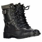 Ladies Womens Rocket Dog Thunder Military Biker Ankle Boot Shoe Black Tan Size