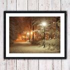winter scene picture framed print warming home natural seasonal nature snow