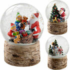 Santa Children Tree Snowman with Birch Base Snow Globe Christmas Decoration