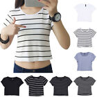 Fashion Women Casual Top Blouse Lady Sexy Slim Crop Top Tank T-Shirt Sportwear J