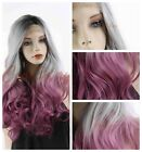 Fashion Sexy Lace Frontal Black Grey Ombre Grape Purple Body Wave Synthetic Wigs