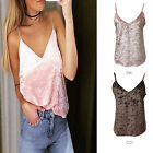 Women Ladies Sleeveless V-Neck Crush Velvet Strappy Cami Camisole Vest Tank Top