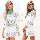 Women 3/4 Flare Sleeve Hollow Out Floral Lace Summer Beach Bikini Cover Up N98B