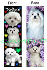 MALTESE Terrier BOOKMARK or 2017 Calendar on BACK-Fun DOG Book Card Figurine ART