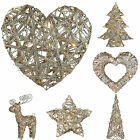 Pre-Lit Silver Woven Rattan Warm White LED Christmas Glitter Tree Heart Star