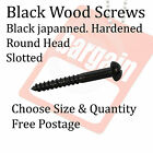 Black Japanned Screws Slotted Round Head Black Wood Screw Choose Size & Qty
