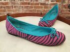 Twiggy London Pink Zebra & Turquoise Bow Ballet Flats NEW