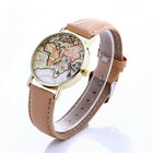 Casual Lovers Fashion 1Pcs World Map Quartz Students Watches Leather Strap Hot