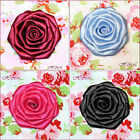 "6 Handmade 2"" 3"" Blue Pink Burgundy Wine Satin Fabric Bridal Dress Corsage ROSE"