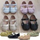 GIRLS TODDLER KIDS CHILDREN FLOWER WEDDING DIAMANTE PARTY WALK FLAT SHOES SIZE