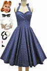 50s Style PLUSSZ Eleanor Paige PINUP NAVY Polka Dots SWEETHEART HALTER Sun Dress