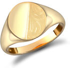 Jewelco London Men's Solid 9ct Yellow Gold Diamond Cut Oval Signet Ring