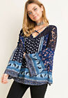 S-L ENTRO Blue Boho Print Strappy V-Neck Lace Long Bell Sleeve Flowy Tunic Top