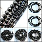 "Wholesale Natural Black Onyx Faceted Round Beads Spacer 15"" 3 4 6 8 10mm"