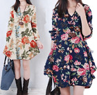 Summer ladies fashion V-neck floral loose long sleeve dress mini dress S-4XL
