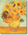 HUGE Van Gogh Vase of 12 Sunflowers Stretched Canvas Giclee Art Repro ALL SIZES