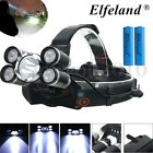 50000LM Elfeland 5x T6 LED Rechargeable 18650 Headlamp Head Lamp Torch Light NEW