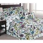 Twin Full Queen King Bed Purple Green Floral Butterfly 7p...