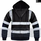 Hi Vis Viz High Visibility Black Jacket Fleece Hoodie Hooded Zip SweatShirt Top