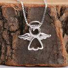 925 Sterling Silver Cute Guardian Angel Pendant Chain Necklace Handcrafted w Box