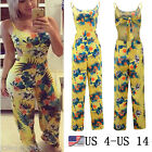 US STOCK Womens Summer Fashion Jumpsuit Flower Print Backless Casual Playsuits