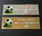 ENGRAVED TROPHY PLAQUE 50MM X 16MM FOOTBALL SPORTS AWARD SELF ADHESIVE PLATE