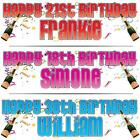 """2 x PERSONALISED BIRTHDAY BANNER 3ft - 36""""x11"""" 18th 21st 30th 40th CELEBRATION"""