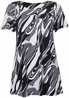 Womens Monochrome Swirl Printed Ladies Short Sleeve Smock T-Shirt Top Plus Size