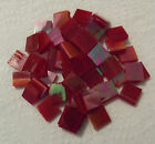 """Iridescent Red White Wispy Stained Glass Mosaic Tiles - U Pick 1/2"""" or 3/4"""""""