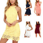 New Women Sleeveless Lace Bodycon Dress Ladies Evening Cocktail Short Mini Dress