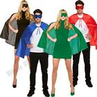 SUPERHERO UNISEX ADULTS CAPE & MASK STAG HEN NIGHT FANCY DRESS HALLOWEEN
