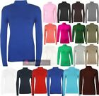 NEW LADIES PLAIN POLO NECK LONG SLEEVE STRETCH TOP JUMPER UK 8-26