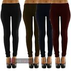 LADIES NEW PLAIN THICK THERMAL LEGGINGS WINTER PANTS TROUSERS ONE SIZE
