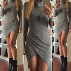 New Womens Bodycon Dress Long Sleeve High Neck Evening Party Cocktail Mini Dress