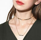Gothic Women Jewelry Sequins Choker Double Chain Necklace With Alloy Pendant