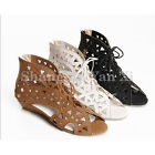 Womens Hollow Out Lace Up Wedge Peep toe Gladiator Casual Sandals Shoes  Flats