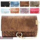 WOMENS NEW FAUX LEATHER WOVEN DESIGN CHAIN DETAIL PURSE WALLET