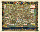 Pictorial Historical Map Central London Vintage Wall Art Poster Print Decor