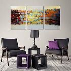 3PCS Canvas Abstract Wall Art Modern Oil Painting Hand-painted Picture 24x48''
