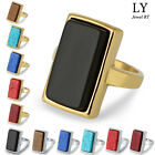 Multi-Color Stone Fashion Stainless Steel Gold Silver Men Women Wide Square Ring
