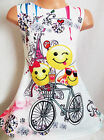 GIRLS 60s STYLE MULTI COLOUR SMILEY EMOJI PRINT SPECIAL OCCASION PARTY DRESS