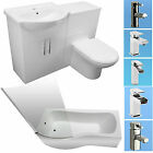 SHOWER BATH SUITE P SHAPE VANITY UNIT BASIN SINK BACK TO WALL WHITE TOILET TAPS