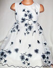 GIRLS DARK BLUE EMBROIDERED ORIENTAL BLOSSOM PATTERN PRINCESS PROM PARTY DRESS