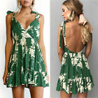 Women's 2017 Pleated Floral Strap Backless Party Skater Dress Summer Sundress