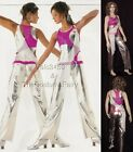 Innovation Dance Costume Silver and Fuchsia Jumpsuit Unitard Clearance AM and AL