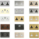 Varilight Decorative Screwless UK 2 Gang 13 amp Plug Sockets with Colour Insert