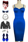 1950s PINUP Inspired Lapis Blue SATIN Sateen Bustier Wiggle Starla Dress