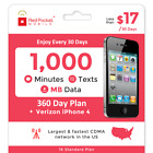 Red Pocket 1 Year Prepaid Wireless Plan - Verizon iPhone 4, no contract <br/> $17/Mo:1000 Min/Text/MB