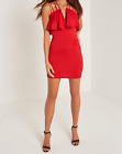 Missguided Women's Black Frill Multi Strap Bodycon Dress Red (M19/19)